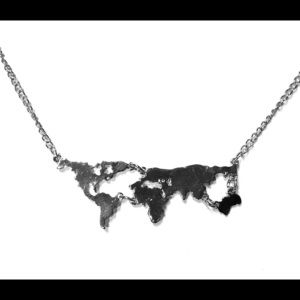 World Map Necklace Silver tone Adjustable